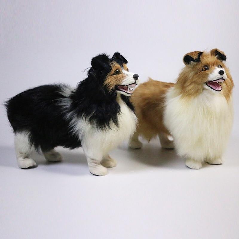 artificial dog shepherd model,polyethylene&furs dog 22x19cm handicraft Figurines home decoration toy gift a2617