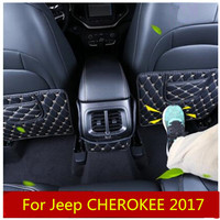 For Jeep Compass CHEROKEE RENEGADE GRAND COMMANDER Kickboard Interior Refit Armrest Box Rear Seat Kick Pad CarStyling car covers