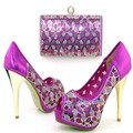 African Shoe And Bag Set For Party In Women Fashion Italian Matching Shoe And Bag Set With Rhinestones TH16-49