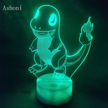 Pokemon 3D Lamp Charmander 7 Color LED Children's Room Decoration Touch Night Light Table Lamp Children kids Gift cool creative pokemon espeon 3d lamp usb cartoon night light led 7 color touch table lamp children christmas gift hui yuan brand