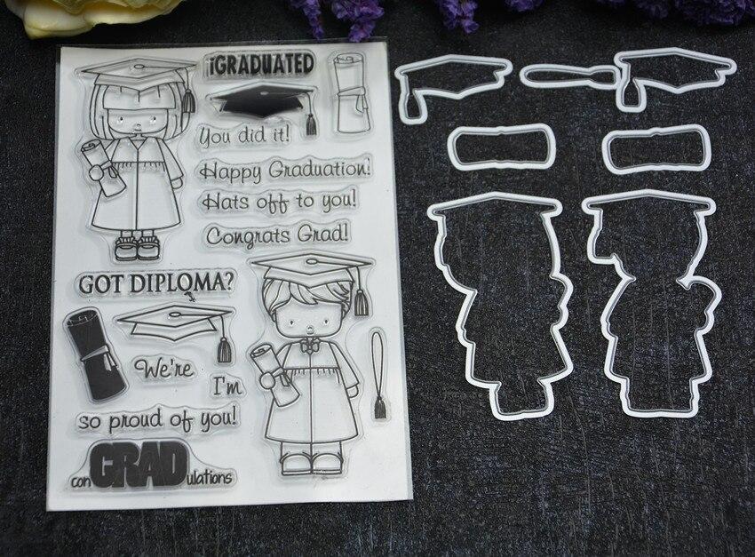 Happy Graduate Metal Cutting Dies and stamp Stencils for DIY Scrapbooking/photo album Decorative Embossing DIY Paper Cards
