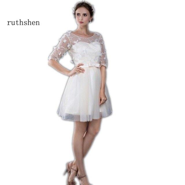 6cd889a2e8 Ruthshen Vestido De Festa Curto elegante corto vestidos fiesta 2018 media  mangas sobre la rodilla Vestido