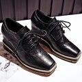 Aiweiyi lace up plataforma bombas zapatos oxfords mujer zapatos cuñas del dedo del pie cuadrado zapatos de las mujeres de cuero genuino tacones altos zapatos casuales
