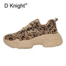 Leopard Female Flat Platform Shoes INS Hot Cow Suede Women Sneakers Lace Up Plush Women Sports Creeper Korean Lady Harajuku Shoe