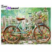 Ever Moment Diamond Painting Bicycle Flower Full Square Drill Cross Stitch Decoration For Home Diamond Embroidery 5D DIY S2F988