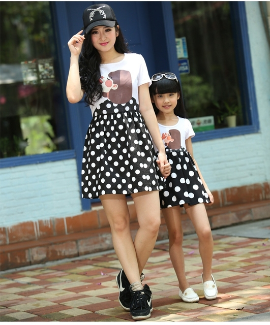 ad2f1dbfb079 FAMILY 2015 New Fashion Mother and Daughter Dresses, Summer Girls Mummy Family  clothes,Dot