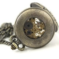 Wholesale Mens Modern Skeleton Pocket Watch Pendant Watch Archaized Carving New Freeship