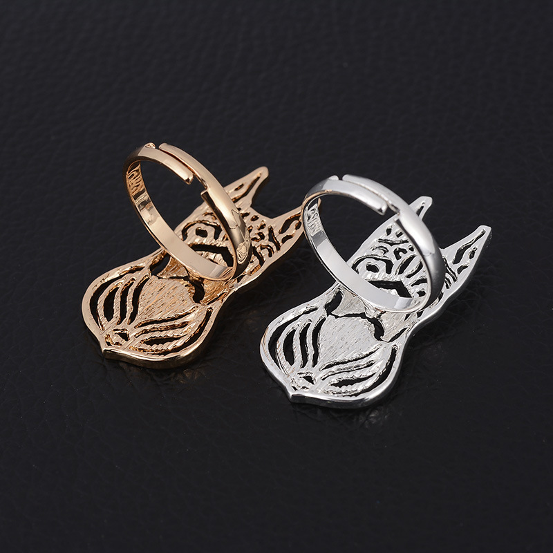 1pcs Hollow Out Gold Silver French Bulldog Ring Wholesale Animal Dog Rings for Pets Puppy for Women and Men Gifts