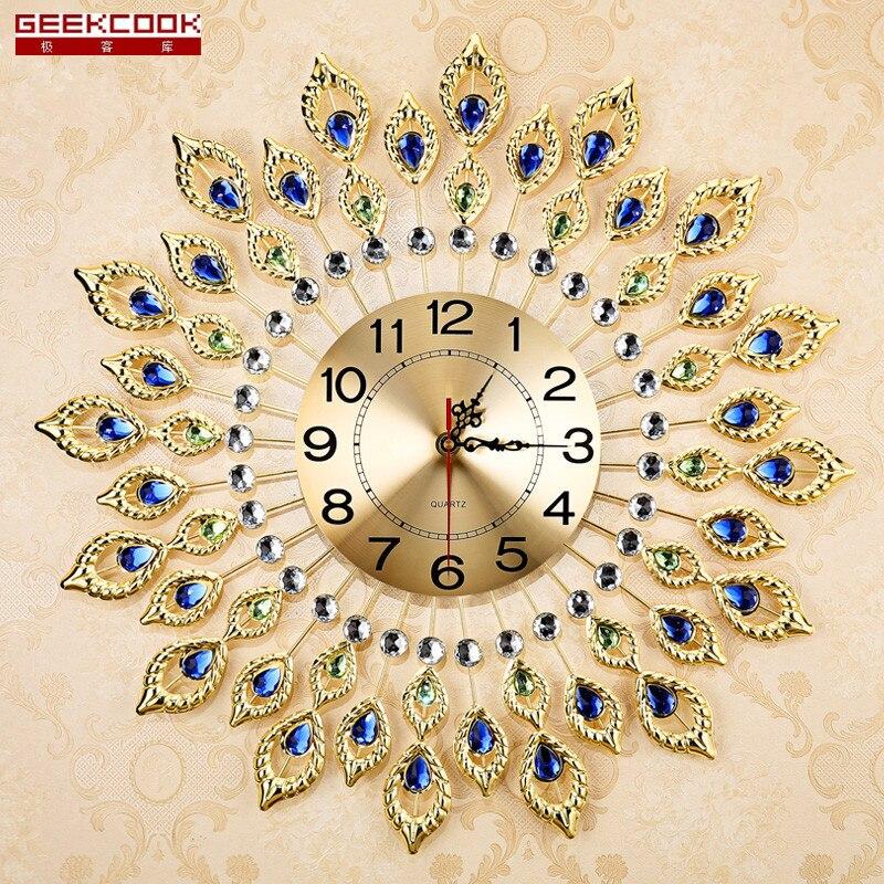 European Luxury Quartz Creative Large Wall Clock Art Golden Peacock ...