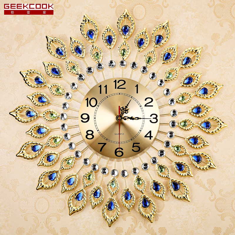 European Luxury Quartz Creative Large Wall Clock Art Golden Peacock Clocks Wall Modern Design Living Room Mute Wall Watch