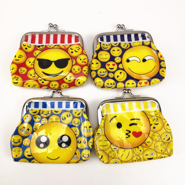 12pcs 99cm Cute Emoji Mini Coin Purse Party Favors Money Bag Wallet Birthday