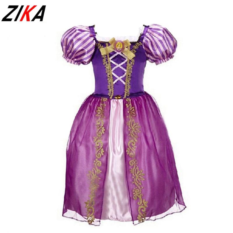 ZIKA New Girls Cinderella Dresses Children Snow White Princess Dresses Rapunzel Aurora Party Halloween Costume Brand kids Dress
