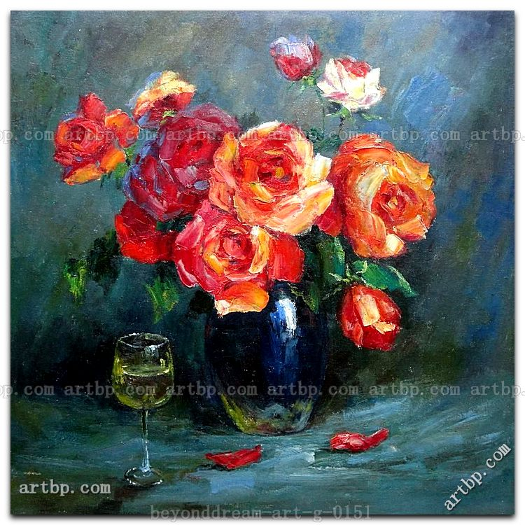Still Life Of Romantic Red Roses In Vase With Glass Of