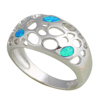 Cool Style Design Blue Fire Opal 925 Silver Rings Fashion Jewelry USA Size 6 5 6