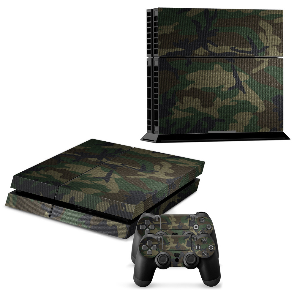 Army Camo Protector Skin Sticker For Playstation 4 PS4 Console + 2Pcs Stickers For PS4