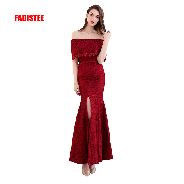 New arrival Gorgeous lace style evening dresses Vestido de Festa long gown lace-up beading party style dress