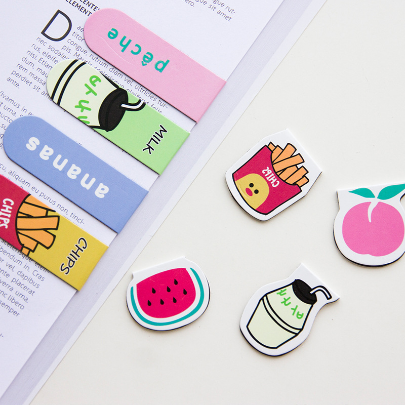 Creative Cat Fries Fruit Magnet Mini Bookmark Paper Clip School Office Supply Escolar Papelaria Gift Stationery