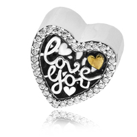 FANDOLA Beads Love Script Heart Charms with Clear CZ Fits Charm Bracelets Beads for Jewelry Making kralen perles boncuk