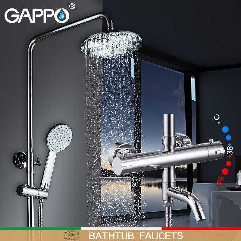 GAPPO Banheira Torneiras Banheira tap mixer Bath Shower torneiras cachoeira chuveiro do banheiro misturador do chuveiro termostática torneira do chuveiro define