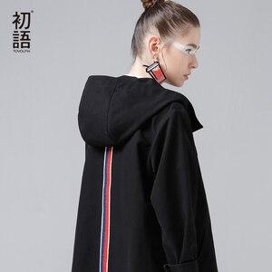 Image 1 - Toyouth back 스트라이프 폭격기 자켓 여성용 새 숏 코트 빈티지 패치 워크 후드 아웃터 코트 루스 코튼 chaqueta mujer