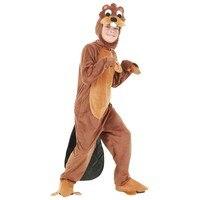 Child Beaver Cosplay Costume Kids Animal Costumes Fancy Dress Anime Onesie Jumpsuit With Headwear Flippers Children