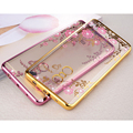 Royal Crystal Rhinestone Plating Gilded Flower Soft TPU Cover Case for Redmi Note 4