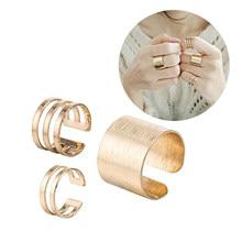 موضة جديدة نفس الفقرة للتعديل إصبع مشترك ثلاث قطع الجوف هندسية حلقة مستديرة مجوهرات الأزياء 3 قطعة/المجموعة