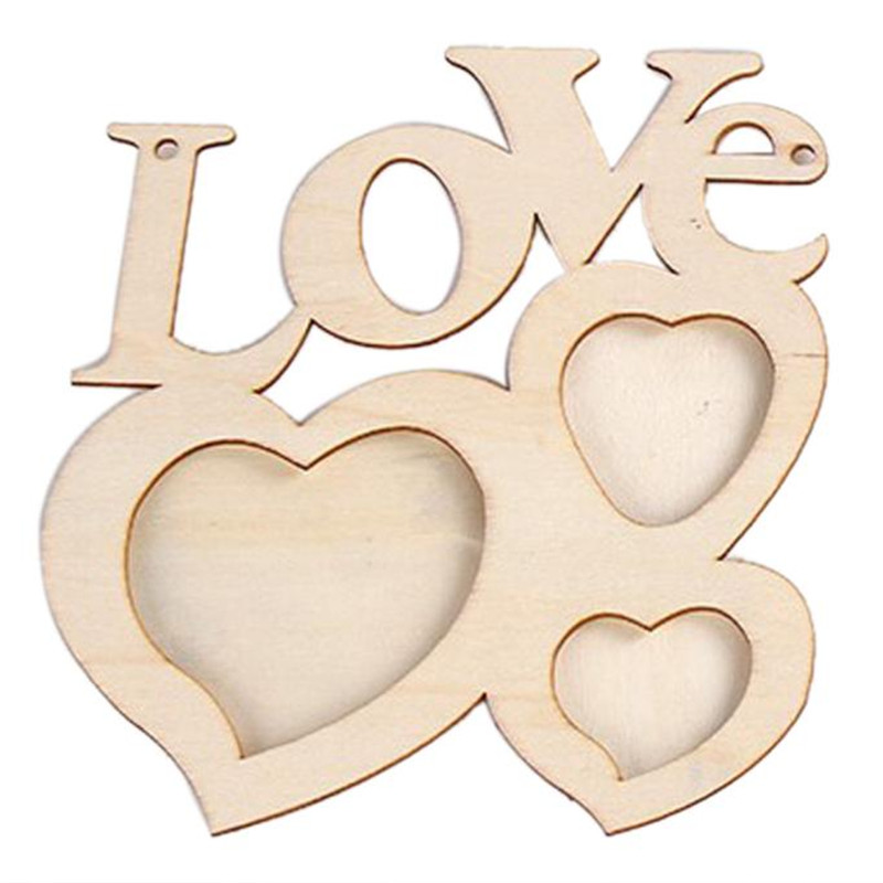 Hollow Love Wooden Photo Frame DIY Picture Frame Art Decor White Base hot sale on 2017