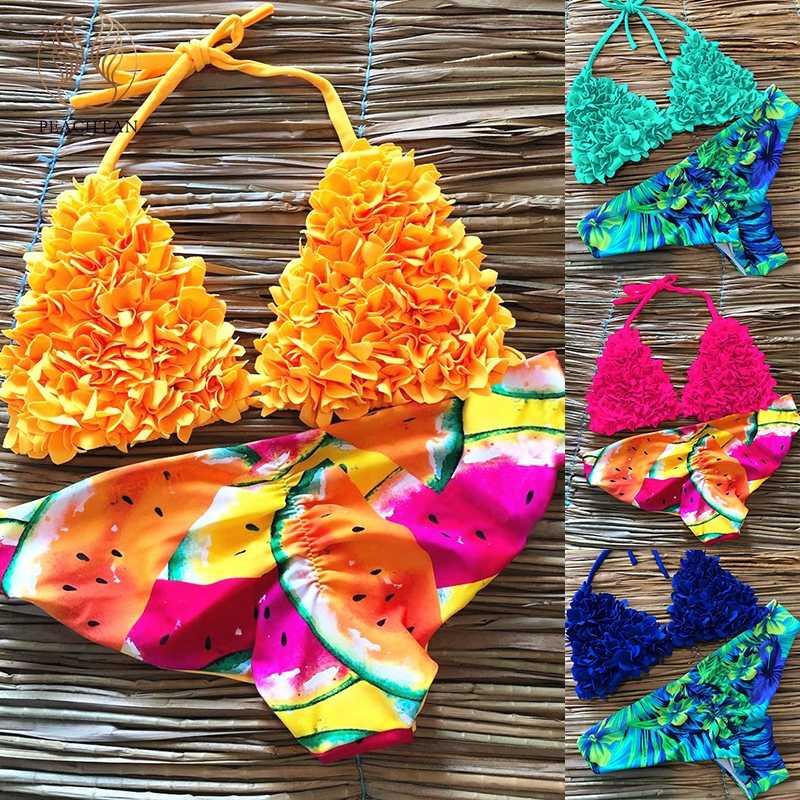 Floral Verano Estampado 2019 Push Up Amarillo Traje Mujer Micro Sexy Bikini De Baño Peachtan Biquini Halter LqzVpUGjSM