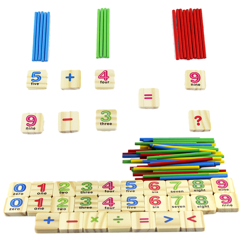 1 Set Wooden Numbers Stick Math Montessori Toy Mathematics Early Learning Counting Educational Sensory Toys for Children Kids kids wooden memory match stick chess game toy kids montessori educational block toys gift children early educational wood toy