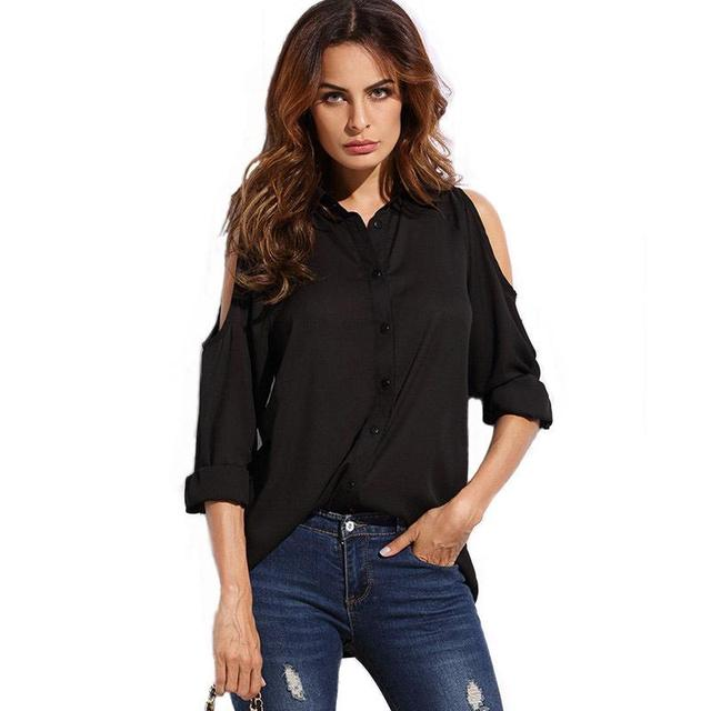 e0b65b01861eed 2017 Summer Women Chiffon Blouse New Black Sexy Off Shoulder Shirt  Strapless Long Sleeves Turn-cown Collar Female Workwear