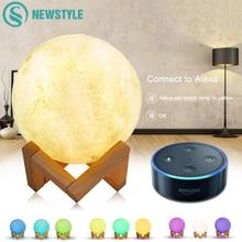 3D Baskılı Ay Lamba Wifi App Kontrol Akıllı Ses Kontrol Amazon Alexa ile Uyumlu USB Şarj Renkli Gece Lambası