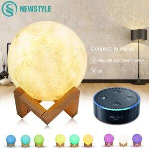 Image 1 - 3D מודפס ירח מנורת Wifi App שליטה חכם קול שליטה תואם עם אמזון Alexa USB טעינה צבעוני לילה אור
