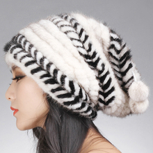 women winter fur hat hair mink baggy beanie with fur ball black brown white stripe autumn knitted H915