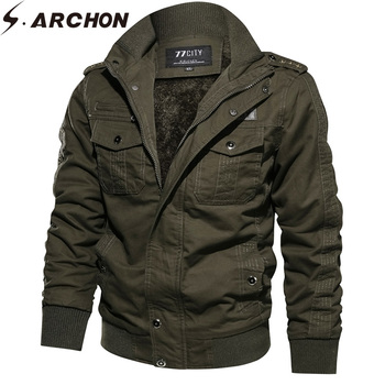 S.ARCHON Winter Tactical Windproof Jackets Men Cotton Flight Military Jacket Casual Thermal Pilot Jacket Coats Air Force Gear