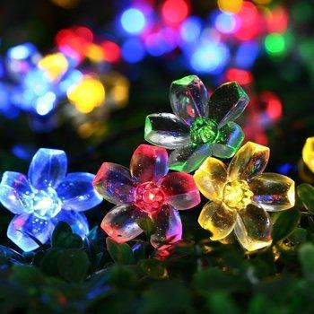 LED שמש מחרוזת אורות, 22ft 50 LED עמיד למים דובדבן פריחת שמש פרח מחרוזת למקורים/חיצוני, פטיו, גינה, חג המולד