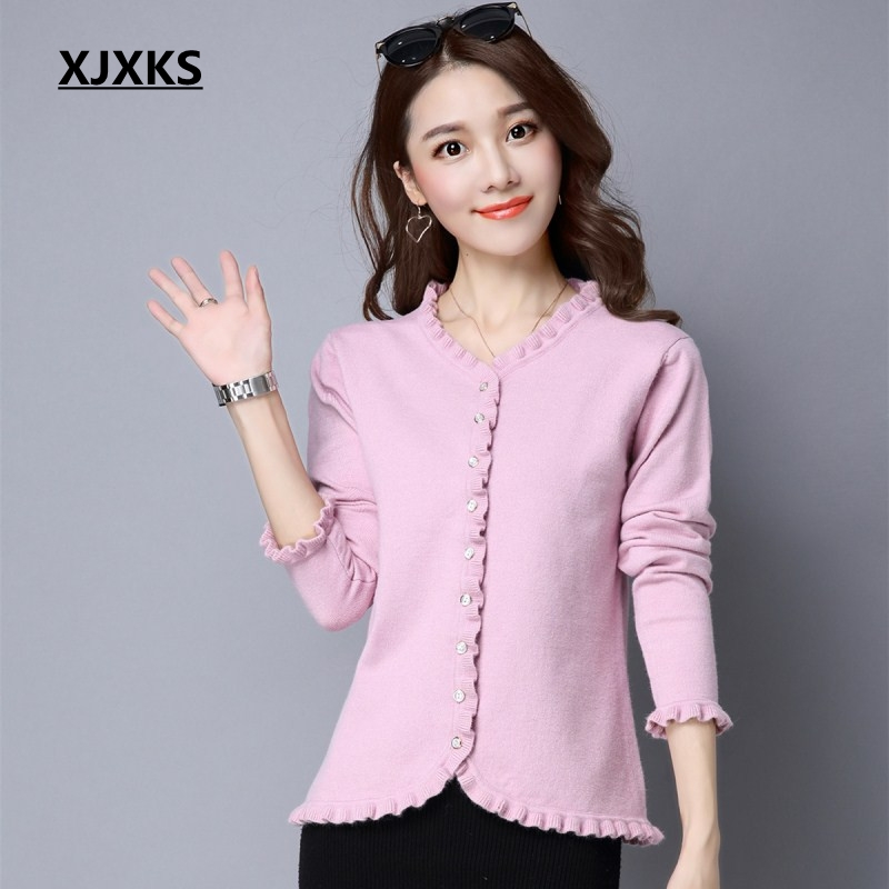 XJXKS Original ruched design 2019 new product women cardigan sweater ladies single breasted stretch casual women
