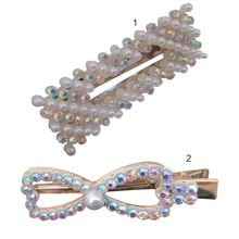 Korean Metal Alloy Geometric Hair Clip Women Faux Pearl Bowknot Duckbill Hairpins Rainbow Rhinestone Rectangle BB Snap Barrettes