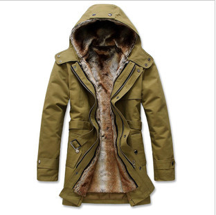 a304eadadaa2 HOT Long Thick Men Outdoors Jacket Parka coats Fur Lining Jacket Mens  Winter Trench Coat Hooded 2015 Fashion Slim Fit Outerwear-in Parkas from  Men s ...
