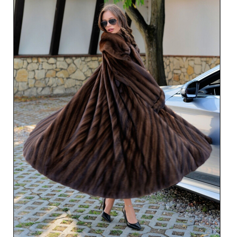 FURSARCAR 2018 Luxury New Real Mink Fur Coat Women Fashion Natural Mink Fur For Female Coat Long Mink Fur Jacket with Fur Collar