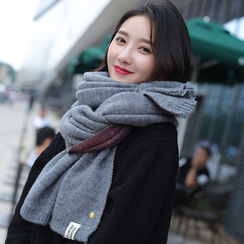 TagerWilen Luxury Brand 2017 Winter Scarf Women Knitting Wool Scarves Knitted Thicken Warm Girl Shawl Scarf Pineapple Pin S-75