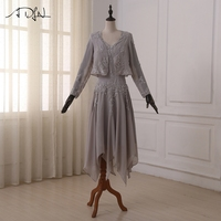 ADLN New 2017 Arrival Mother of the Bride Dresses Elegant Chiffon Tea length V neck Cheap Mother Dress with Jacket