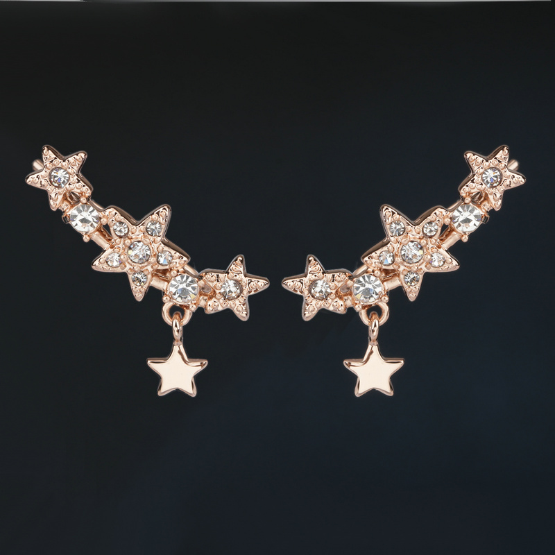 Star Wings Style Silver/Rose Gold Color Cubic Zirconia Vintage Stud Earrings Fashion Cubic Zirconia Jewelry For Women DFE793M