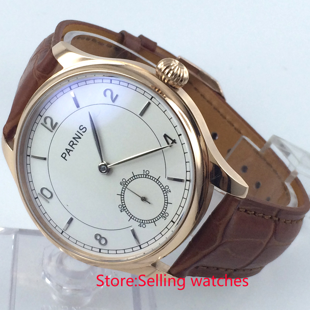 44mm parnis white dial rose golden plated case 6498 hand winding mens watch corgeut 44mm white dial rose golden case hand winding 6498 mens watch