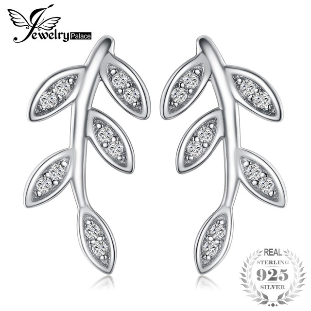 JewelryPalace Glam Leaf Charm Infinity Cubic Zirconia Stud Earrings 925 Sterling