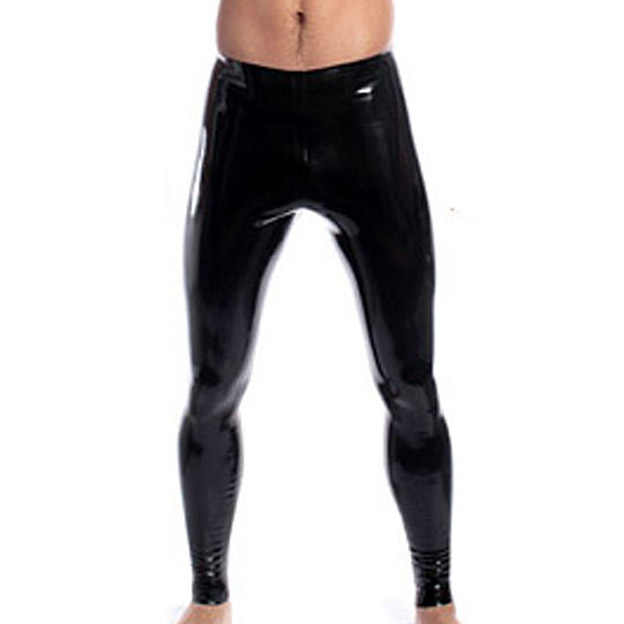 edeb8dde8d6fd5 Men Skinny Faux PU Leather Pants Wet Look Black Sexy Low Rise Trousers  Stage Performance Tight Slim Male Pants Sexy PVC Leggings