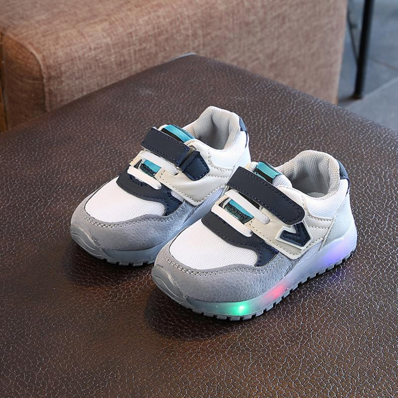 HaoChengJiaDe Children Shoes With Light Led Boys Sneakers Autumn Breathable Fashion Lighted Growing Girls Shoes Luminous Shoes