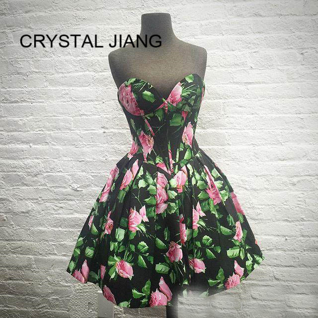 New Fashion 2019   Cocktail     Dresses   A Line Sweetheart Natural Waist Floral Printed Formal Knee Length Short   Cocktail   Party   Dresses