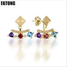 Fashion new 925 sterling silver topaz garnet amethyst stud earrings gift of noble woman. J071
