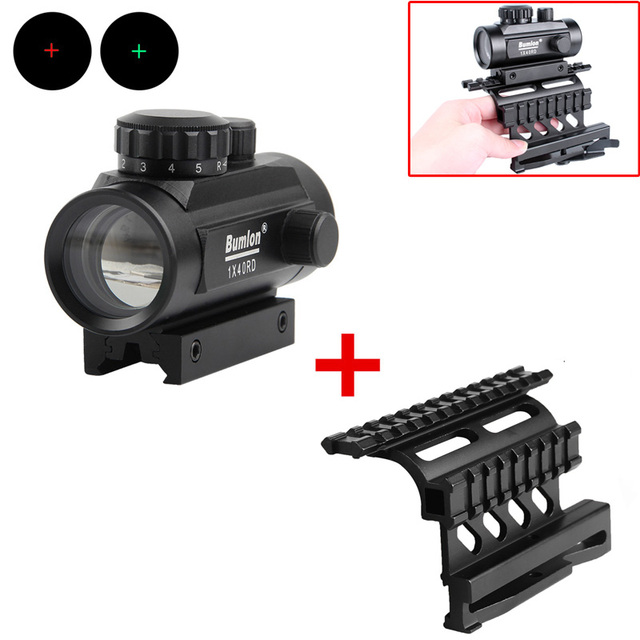 Red Green Dot Sight Scope Hunting Airsoft Collimator with AK 74 Rail Side Mount Quick QD Style 20mm Detach Rail Lock Scope Mount